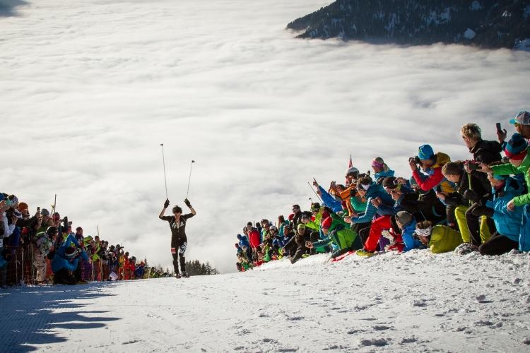 Kilian Jornet lors de son arrivée sur la Vertical Race de Championnats du Monde à Verbier (suisse), le 8 février dernier